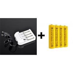 Cargador + 4 pilas recargables AA